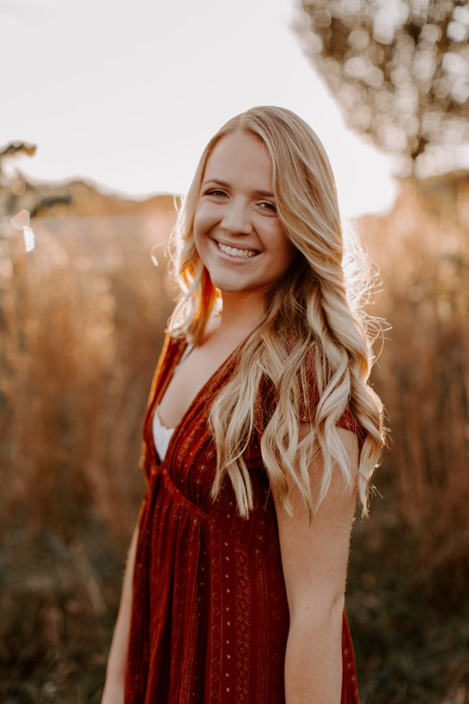 Abigail L. Senior pictures golden hour red dress white house open field white fence georgia photography georgia photographer class of 2019