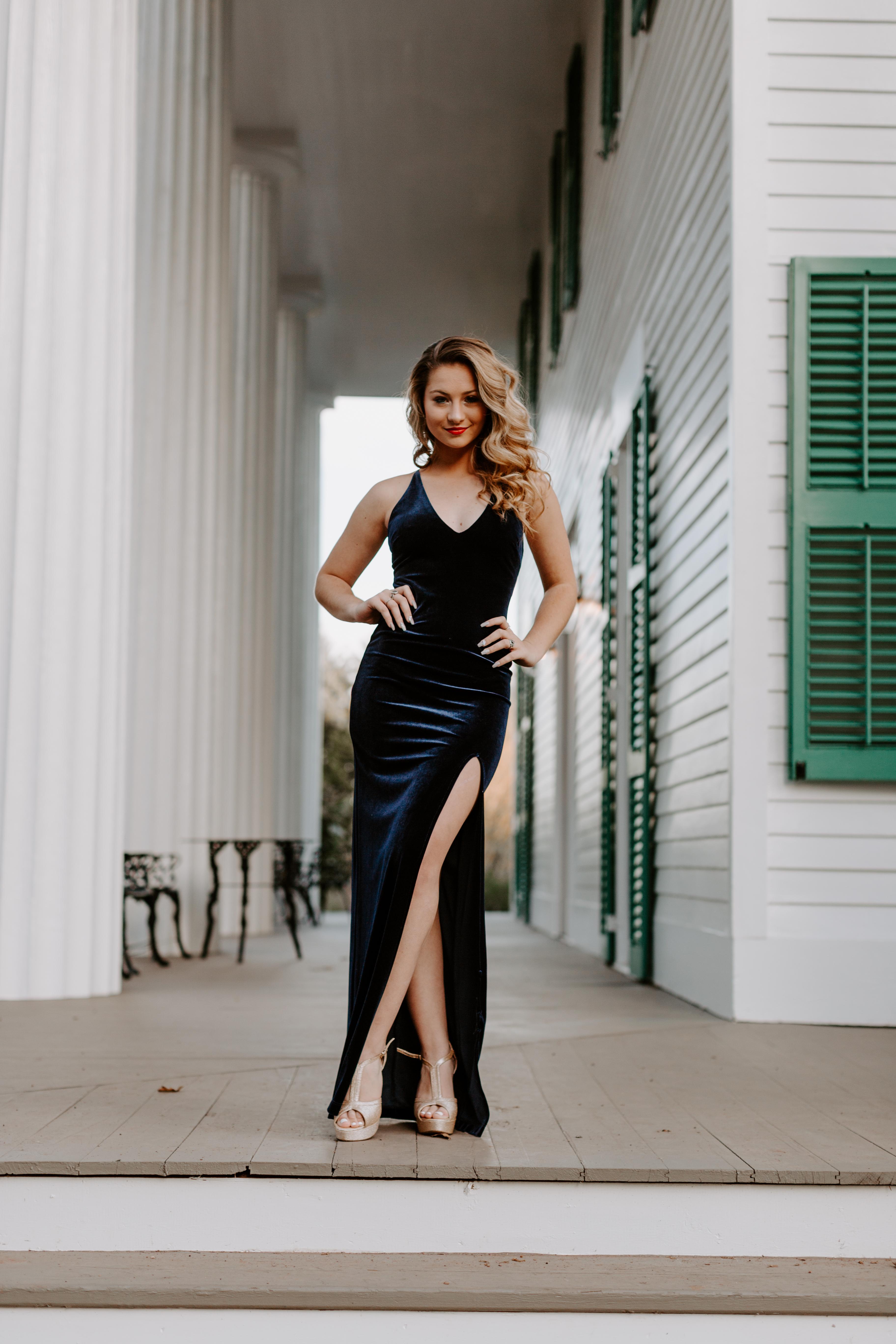 Fiona A. wedding dress blue backlit golden hour idea inspiration pose slit dress elopment golden hair brides dress field fence garden