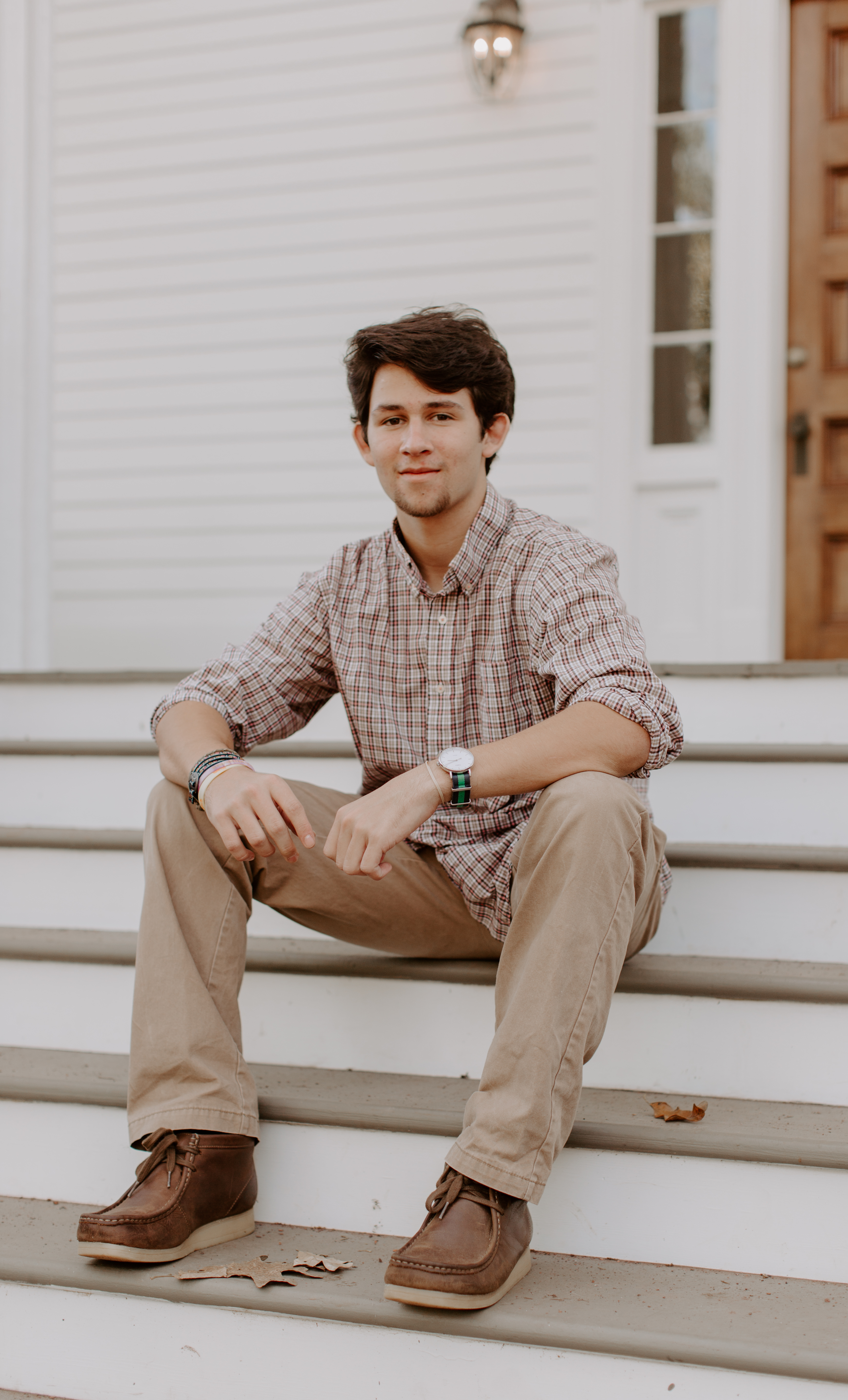 Christian O. Senior pictures collared shirt button up stairs poses pictures baseball senior wooden door