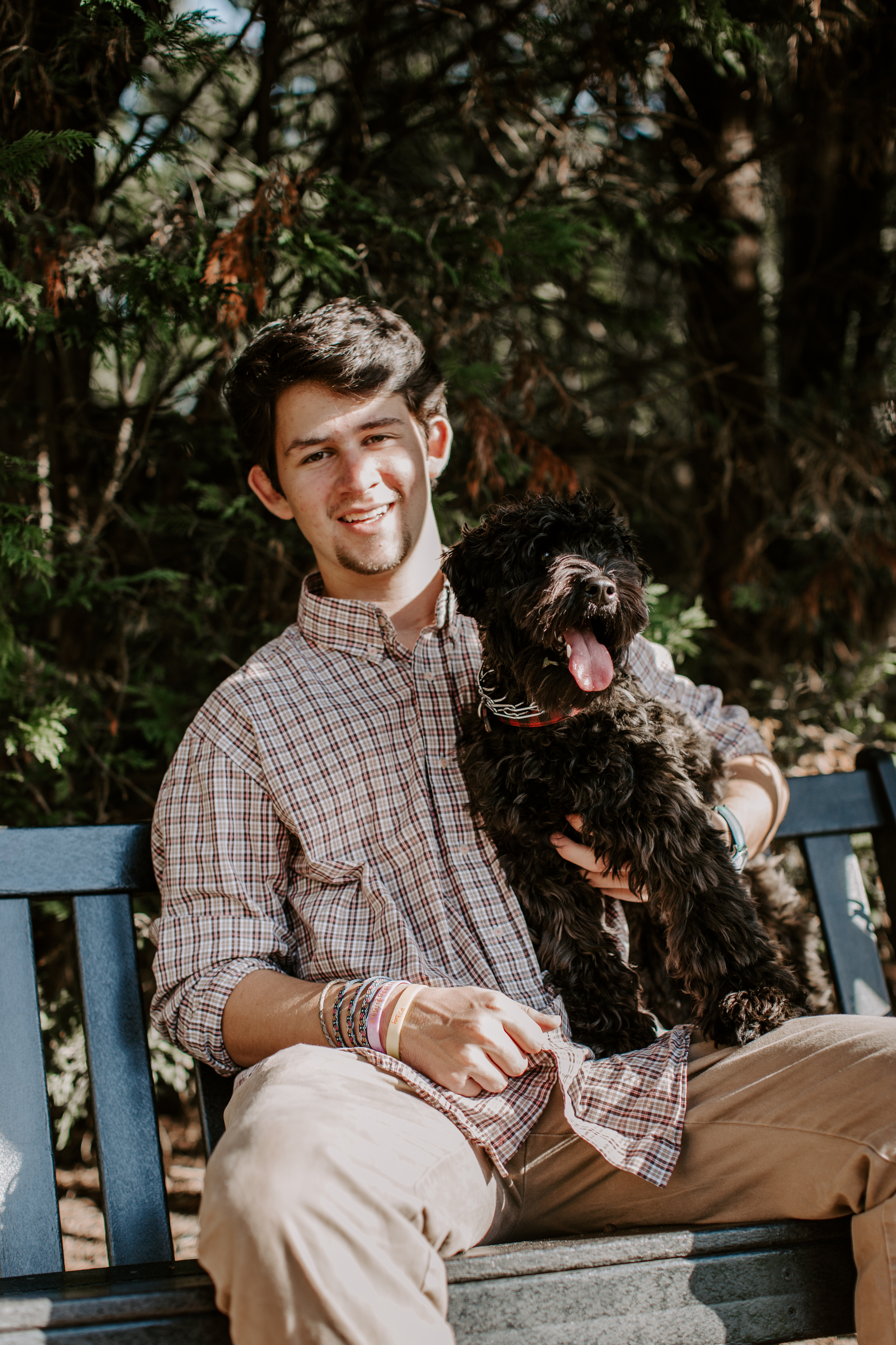 Christian O. Senior pictures collared shirt button up stairs poses pictures baseball senior garden dog and man