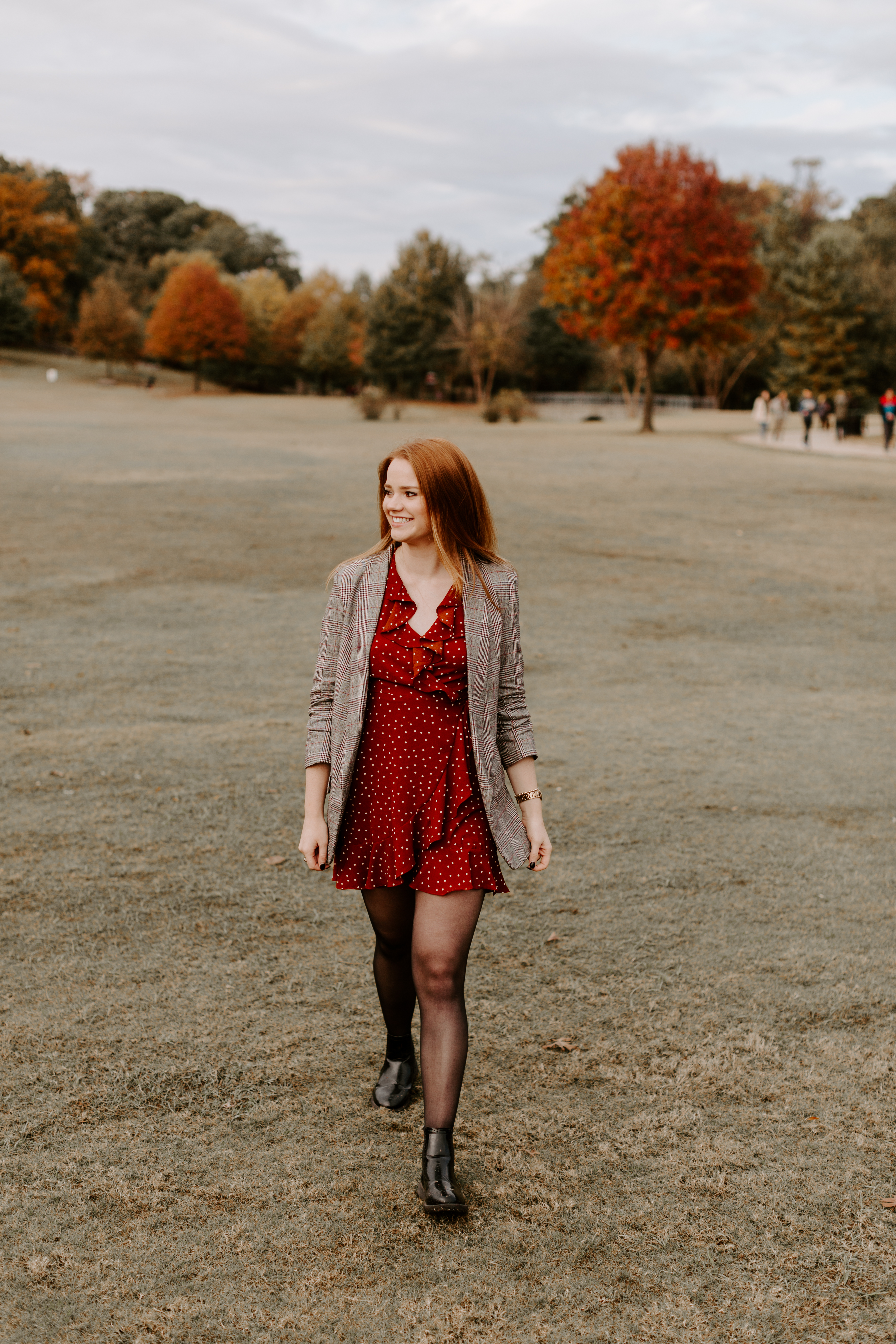 Larla H. Piedmont Park open field fall colors golden hour magazine lifestyle fashion candid pose red hair atlanta