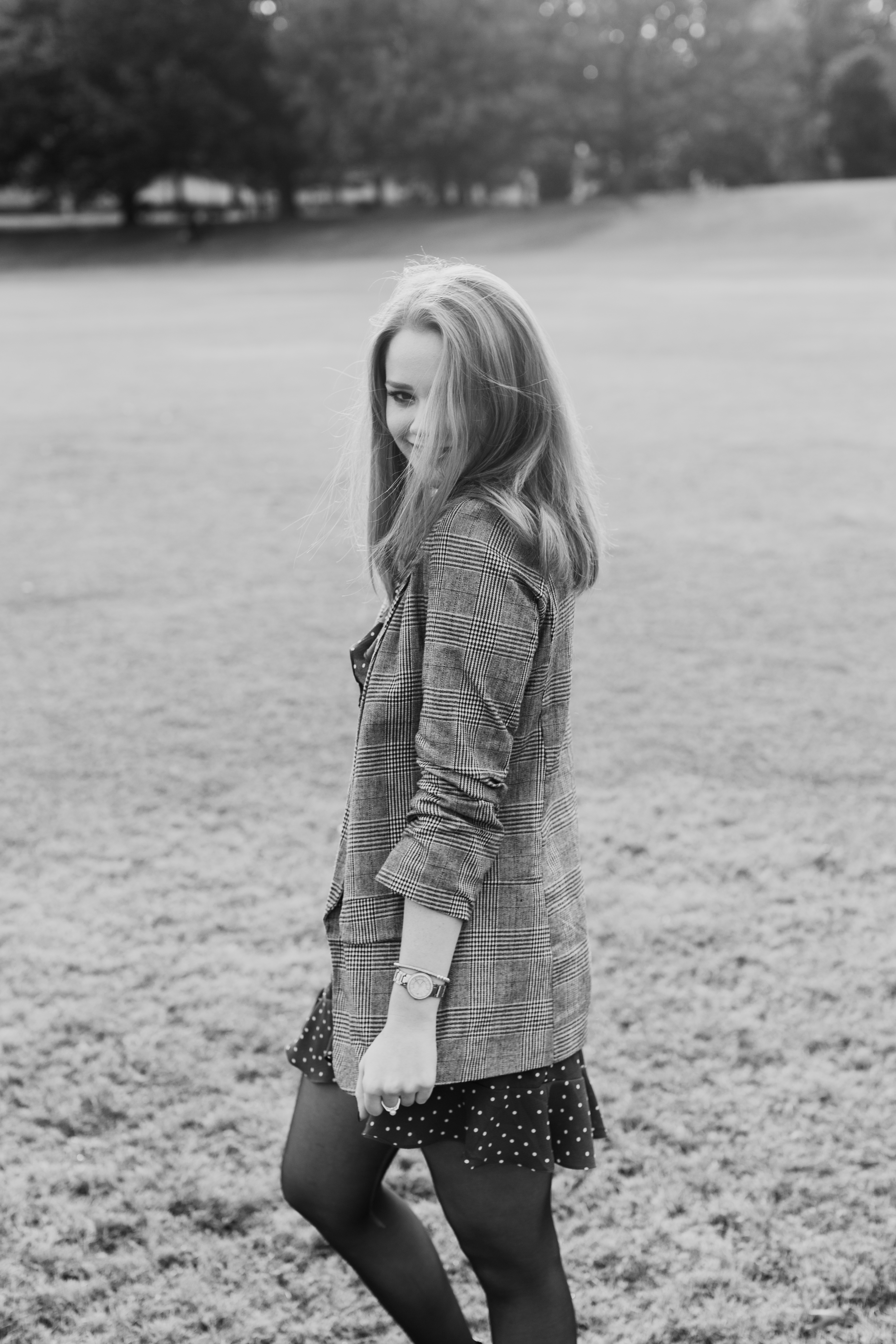 Larla H. Piedmont Park open field fall colors golden hour magazine lifestyle fashion candid pose red hair atlanta black and white