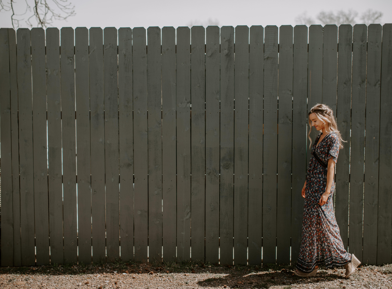 Senior Pictures Open Field Blue Dress White Fence Portrait Braided Hair