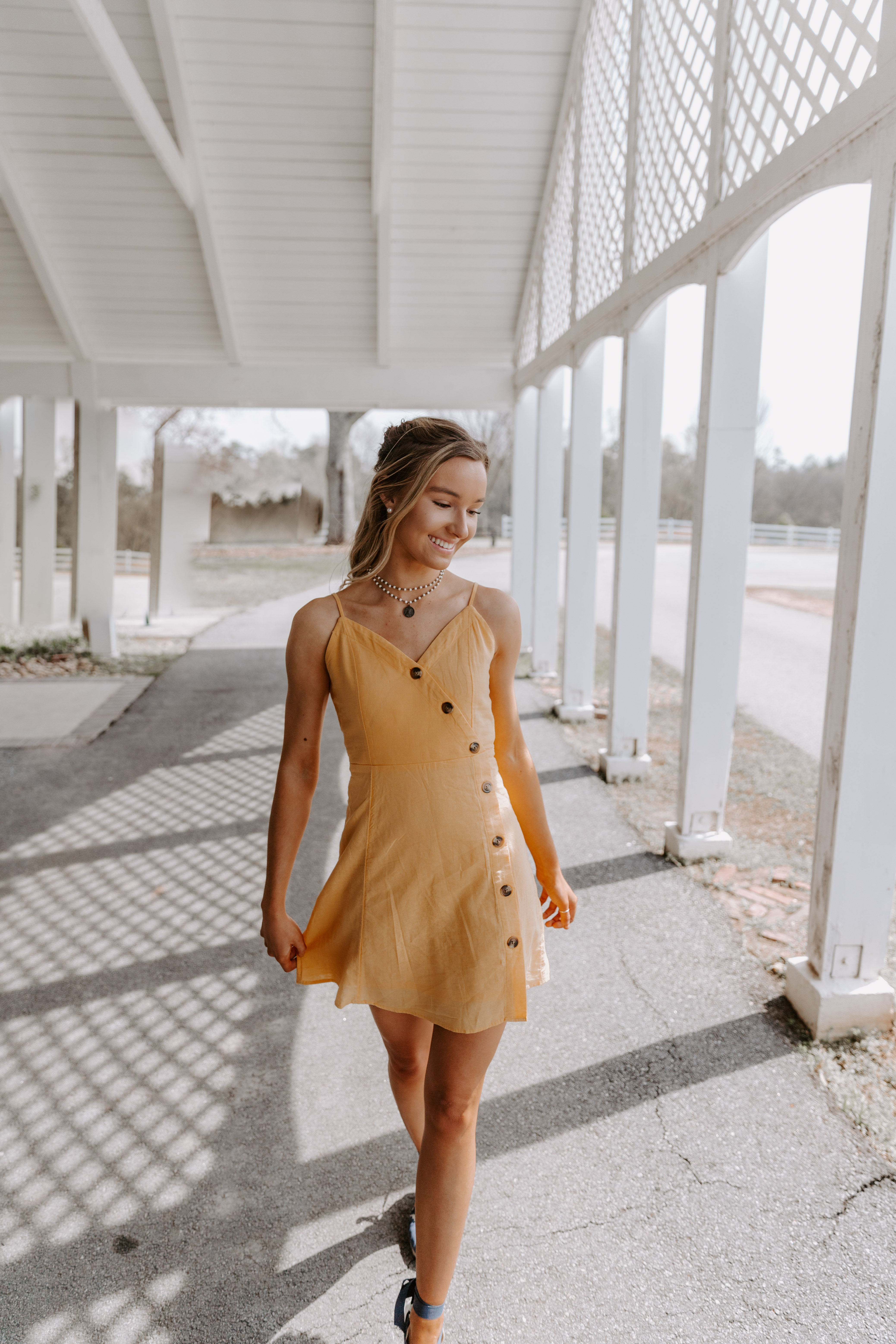 Senior Pictures Open Field Yellow Dress White Fence Portrait Braided Hair